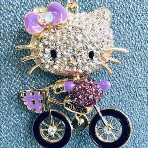 Hello Kitty Rhinestone Bicycle Keychain Charm